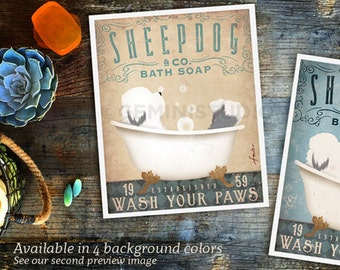 Old English Sheepdog dog bath soap Company vintage style artwork by Stephen Fowler Giclee Signed Print
