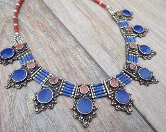 Lapis and Coral Exotic Tribal Bellydance Necklace