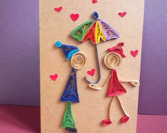 quill card, quilled love card, handmade love card, valentine card quill, I love you card, birthday card boyfriend, birthday card girlfriend