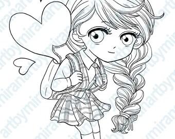 Digital Stamp-School Girl, Digi Stamp, Coloring page, Children's Art, instant download, Back To School