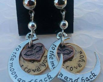 Love you to the moon and back earrings, moons, hearts, dangle earrings, silver, gold, bronze