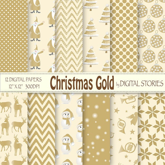 Christmas Digital Paper Christmas Gold Scrapbook Paper With Retro