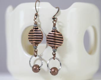 Mixed Metal Antique Copper and Silver Dangling Earrings, Antiqued Copper Earrings, Short Dangling Earrings, Metal Earrings, Sporty Earrings