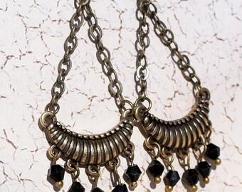 Beautiful,. Antique Brass, Black Swarovski Crystal Earrings, Dangles, Chandelier Earrings, Drop Earrings, Perfect for You
