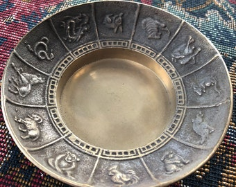 Vintage Brass Chinese Zodiac Catch All Dish Candle Holder