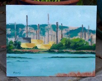 Original Plein Air Oil Painting Shell Oil Refinery Martinez Northern California Artwork Original Wall Art Landscape Artist Honeystreasures