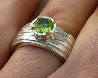 Peridot Silver Ring, Sterling Silver Ring, Gemstones Silver Ring, Handmade Silver Ring, Statement Peridot Ring, Engagement Ring,Mother's Day