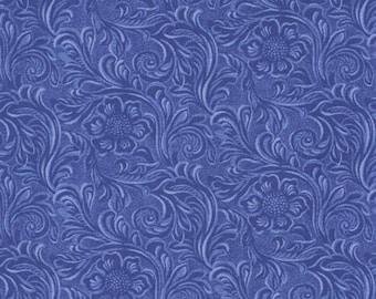 Moda TOOLED LEATHER Quilt Fabric 1/2 Yard By Sara Kammash - Blue 11216 23