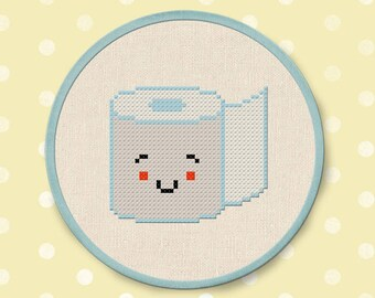Toilet Paper Cross Stitch Pattern. Modern Simple Cute Bathroom Decor Cross Stitch PDF Pattern. Instant Download