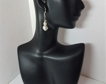 Earrings Dove Grey Glass Pearls