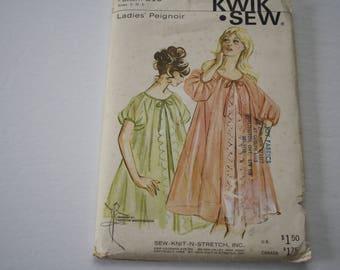 Vintage 1960s Ladies Peignoir Pattern Sewing Pattern UNCUT Kwik Sew 215, all sizes, womens sheer nightgown nylon sheer, sew-knit-n-stretch