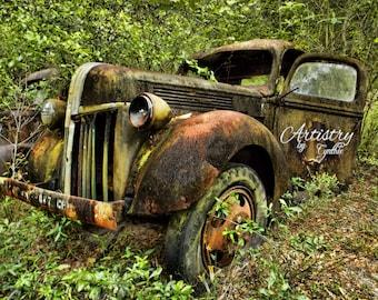 Car Photography, Vintage Car photography, Ford, Vintage Car photo, Rusty, Garage Art, Rusted Car, Rustic Wall Art