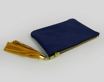 Clutch Leather, evening bag, leather purse with fringes