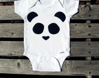 Panda Bodysuit, Baby Gift, Black and White, Baby Clothes, Zoo Theme, Jungle Baby, Cute Baby Clothes, Baby Bear