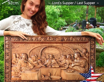 """36"""" Lords Supper / Last Supper Wood Carved 3D The bible icon orthodox picture"""