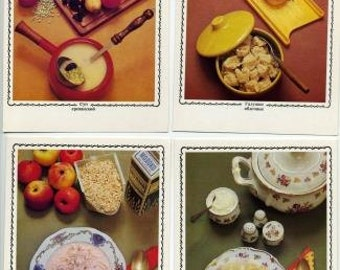 Cards with recipes -Yablochny table (18 units),USSR  1973.Photo mode with sketches of the USSR, 1971.  -5.90''x3.93 '' (15 * 10.5 cm),