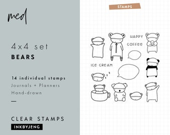 STMP-4x4-039 - Bear Stamps | 4x4 | Planner and Journal Clear Stamp Kit