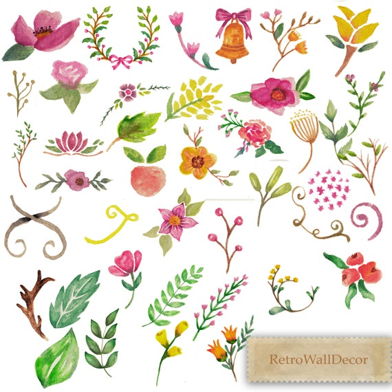 Watercolor Flowers Clip Art Hand Painted Flowers Clip Art