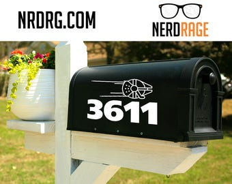Millennium Falcon Mailbox Number Decal - Star Wars inspired mailbox decal - Millennium Falcon Mailbox Number door and window sticker