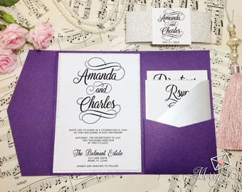 Ultra Violet Wedding Invitations, Purple and Silver Wedding, Silver glitter, Pocketfold Wedding Invitation, Purple Wedding, #C44
