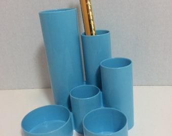 Vintage Mod aqua blue Pen and Pecil Holder