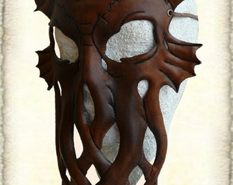 Handcrafted Leather Octopus Mask, made to order