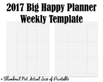 New 2017 Big Happy Planner Weekly Layout Template - Printable to create your own weekly spreads or stickers!
