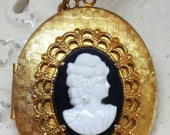 Vintage Black White Cameo Locket Pendant Necklace, Gold Tone Filigree Jewelry, Costume Jewelry