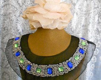 Silver Blue and Green Stone Beaded Appliques