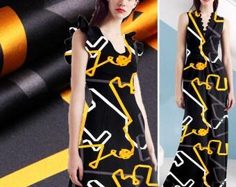 Modern Stripes Print Silk Fabric By The Yard Floral Printed Fabric Stretch Silk Satin Fabric Fashion Dress Fabric Clothing Fabric -TAIKONG