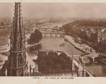 Notre-Dame Paris, France ~  Real Photograph ~ Vintage Postcard ~ Posted 1931
