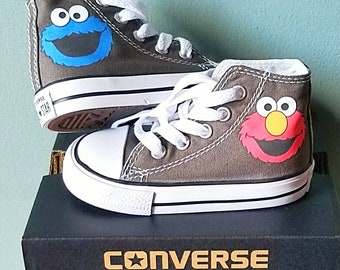 Elmo Cookie Monster, Converse Shoes, Personalized Name, Toddler Sizes 2-10, Many Colors