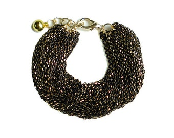 Multi Strand Chic Statement Chain Bracelet - Black