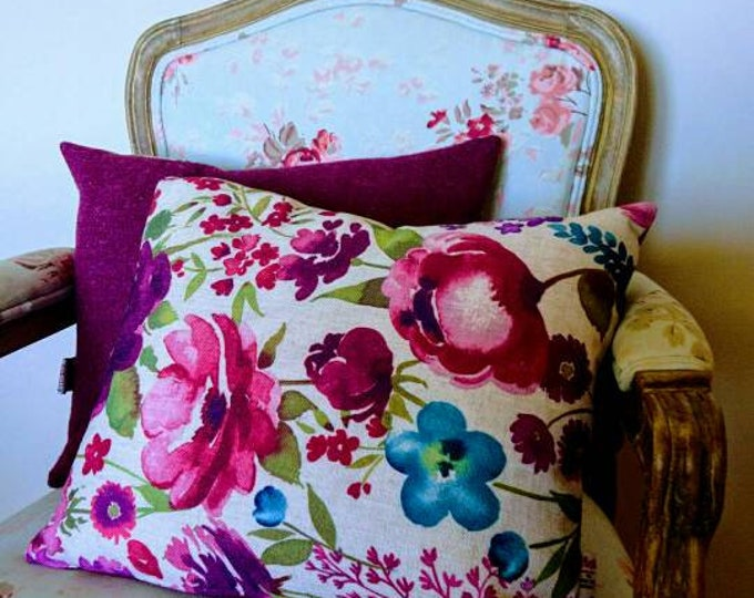 Hand Crafted Harris Tweed and floral fabric cushion cover