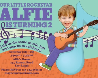 Guitar Birthday Invitation - Illustrated from your photo DIGITAL FILE