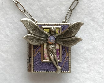 Book Necklace, fairy necklace, faerie pendant, dragonfly wings, Wiccan jewelry, miniature book, teacher gift, writer gift, graduation gift