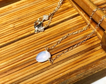Opalite drop choker on sterling silver chain and white moonstone accent