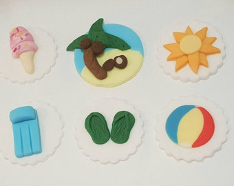 Summer/Beach cupcake toppers