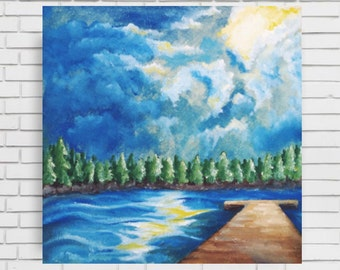 SKY OIL PAINTING - original oil painting sky water lake water dock