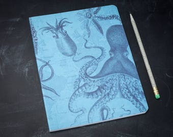 Octopus + Squid Softcover Notebook | Kraken Cephalopod Marine Biology Science Journal, Lay Flat, Lined Recycled Paper, Ocean, Explore, Blue