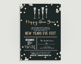 New Years Eve Invitation - Gold & Silver Confetti -  Personalized Printable File or Print Package Available 00217-PIA7FC