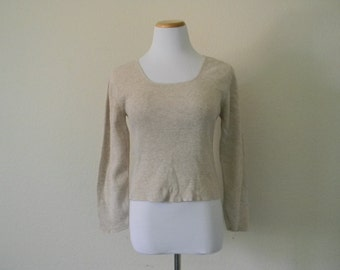 Vintage women's top ribbed minimalist plain sweater long sleeve cotton blend size M