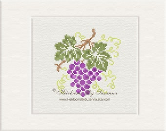 Fall Harvest - Grapes Machine Cross Stitch Design - Machine Embroidery Design - Antique Design - Kitchen Design - Food - Fruit - 5x7 - 5x5