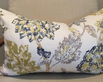 Blue, Grey, Taupe and Ivory Floral Pillow Covers / Designer Linen Fabric / Handmade Custom Home Decor Accent