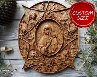 Religious gifts Catholic wall wood Virgin Mary decorative Orthodox decor Christian hanging Russian carving Our Lady icon wall decor art gift