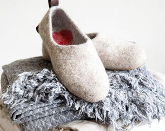 Felted Warmest Love Clogs -Felt organic merino wool neutral beige grey-felted slippers-handmade slippers valentines day gift-womens slippers