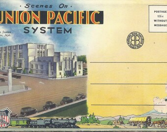 Vintage 1930s Postcard Packet - Union Pacific Railroad System, Overland Route to the Scenic West