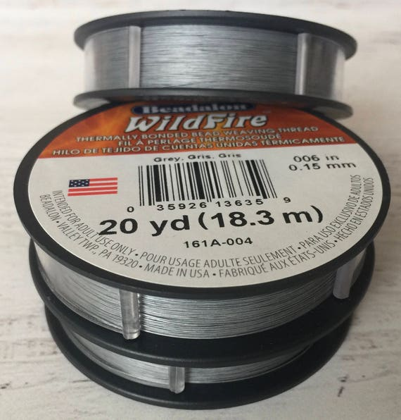 Beadalon Wildfire Thermally Bonded Bead Weaving Thread Grey .006 20 yards