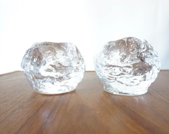 Set of two Vintage Large Kosta Boda Snowball Candle Holders- Ann Warff