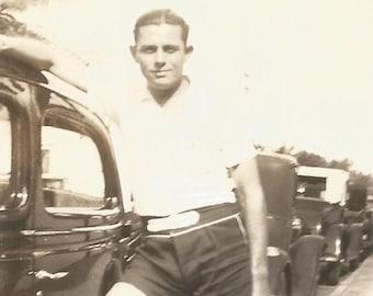 "Vintage Photo ""West Palm Beach"" Handsome Man Antique Car Swim Trunks Shorts Florida Found Vernacular Photo"